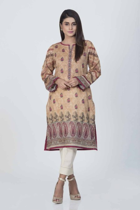 Bonanza Satrangi Brown-Lawn-kurti-BASK91P007-BROWN