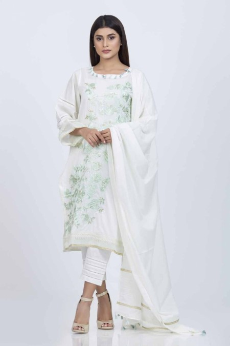 Bonanza Satrangi D-Green-Cotton Satin-SuitBSSK93P016-D-Green