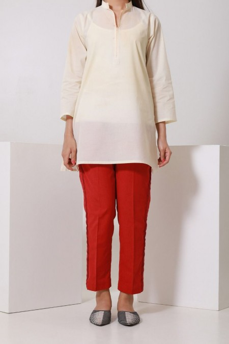 Chapter 2 Handwoven Red Straight Pants C2BS19309-Red
