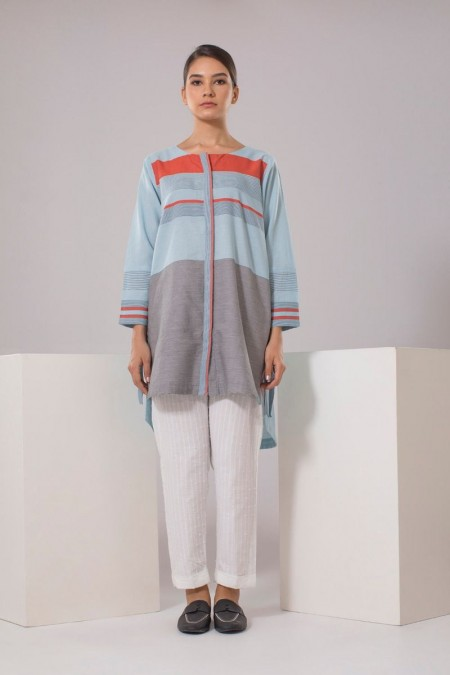 Chapter 2 Handwoven Straight Pants in Beige Stripes C2THF19214-Blue