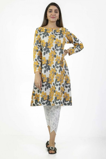 Ego Mustard Flowers2 Piece (Kurta and Tulip Pants) EGN-017