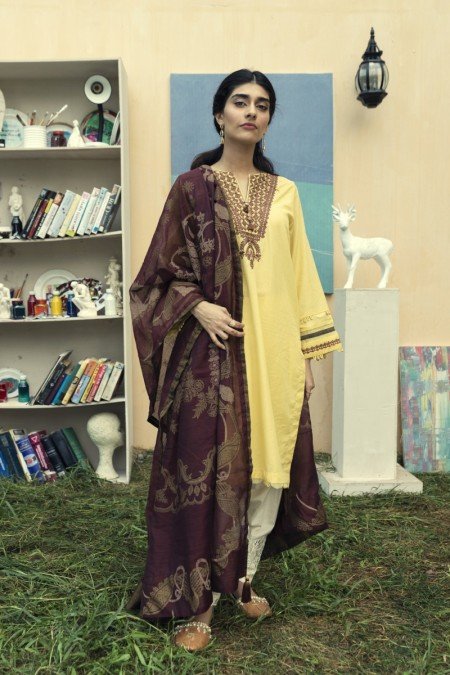 Ethnic by Outfitters Casual Suit (Shirt + Dupatta)WTC491274-10220172-14-VA-34