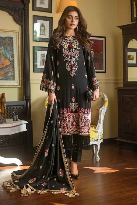 Gul Ahmed Winter unstitched Collection Black DK-06