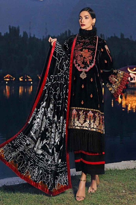 Gul Ahmed Winter unstitched Collection Black MV-10