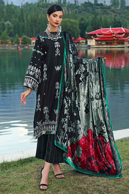 Gul Ahmed Winter unstitched Collection Black MV-18