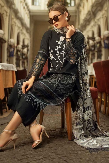 Gul Ahmed Winter unstitched Collection Black MV-22