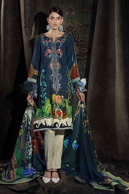 Gul Ahmed Winter unstitched Collection Dark Blue CD-34