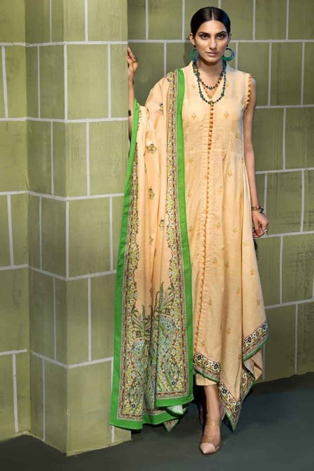 Gul Ahmed Winter unstitched Collection Green K-55