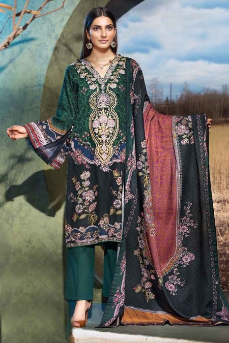 Gul Ahmed Winter unstitched Collection Green K-76
