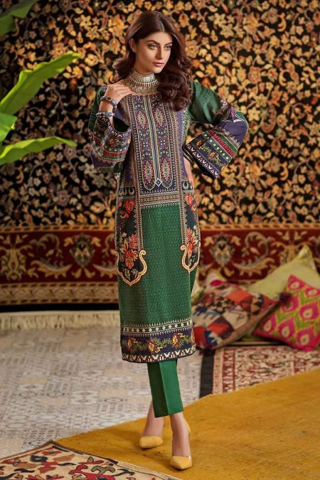 Gul Ahmed Winter unstitched Collection Green TK-19