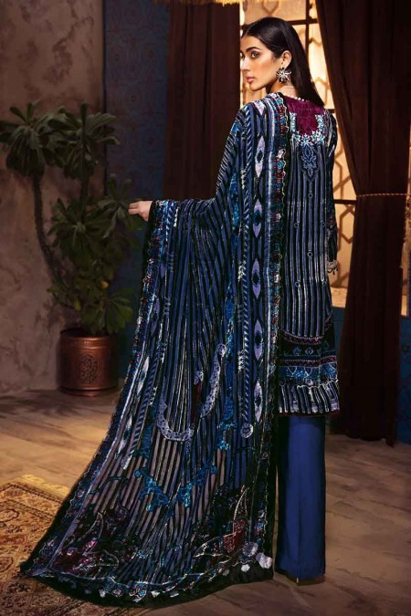 Gul Ahmed Winter unstitched Collection Ink Blue BVL-18