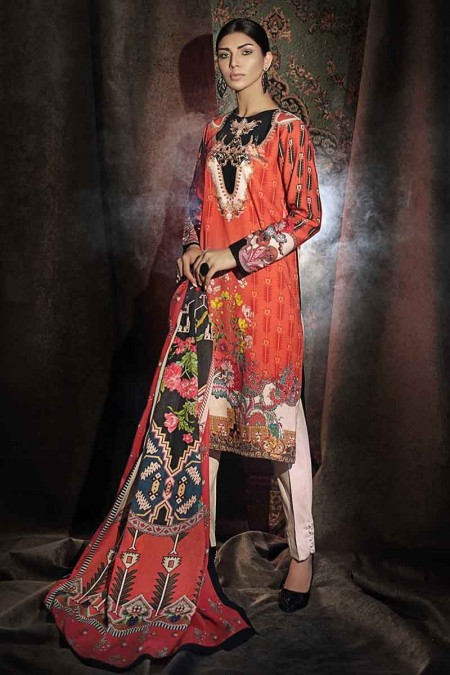 Gul Ahmed Winter unstitched Collection Orange CD-29