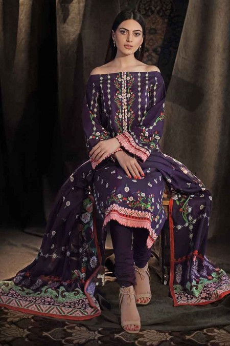 Gul Ahmed Winter unstitched Collection Purple CD-31