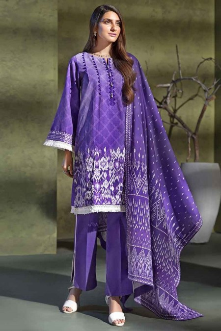 Gul Ahmed Winter unstitched Collection Purple K-78