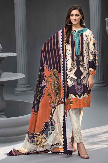 Gul Ahmed Winter unstitched Collection Rust KCN-04