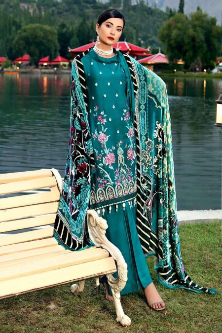 Gul Ahmed Winter unstitched Collection Teal MV-09