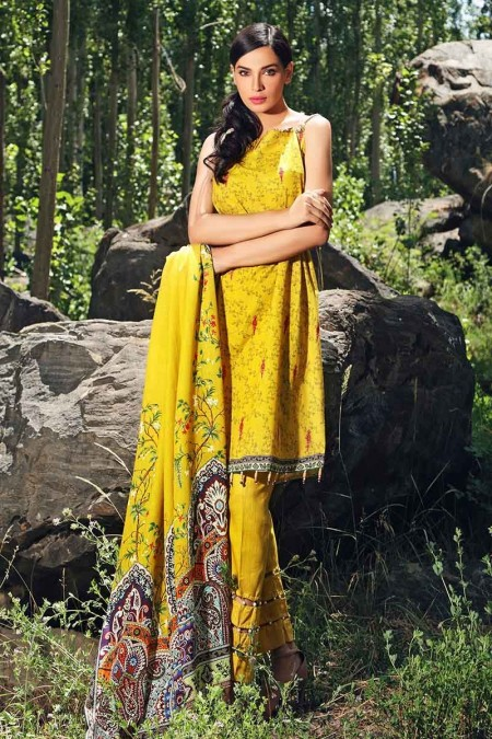Gul Ahmed Winter unstitched Collection Yellow K-50