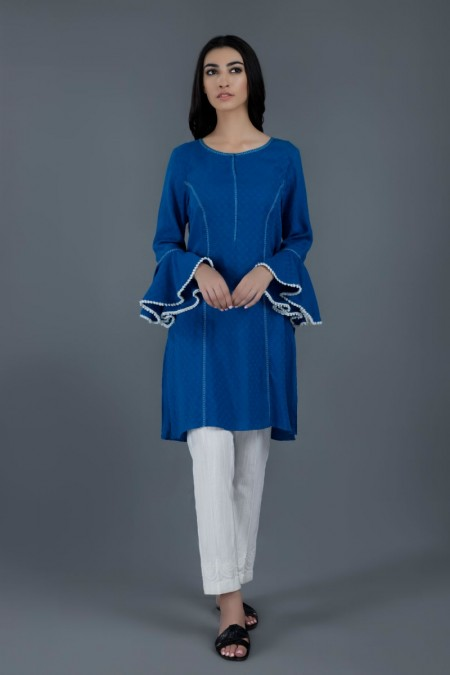 Kayseria Winter 19 READY TO WEAR Blue Shirt with lace DetailingKPN-244