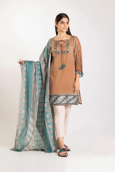 Khaadi Shirt Dupatta CM19502-Beige-2Pc