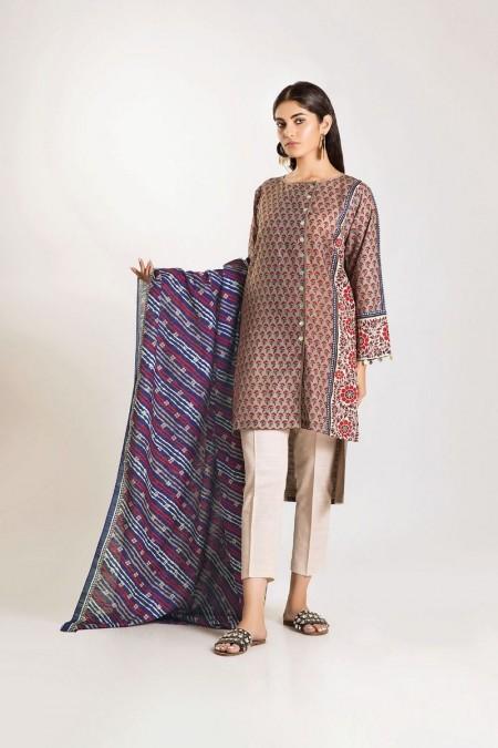 Khaadi Shirt Dupatta LKL19503-Beige-2Pc