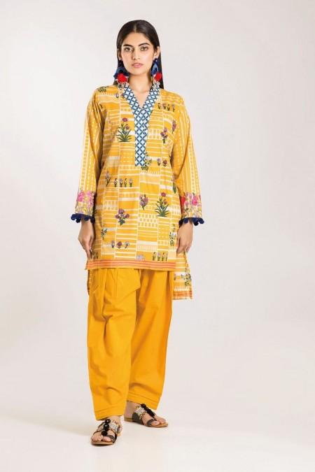 Khaadi Shirt Shalwar CI19504-Yellow-2Pc