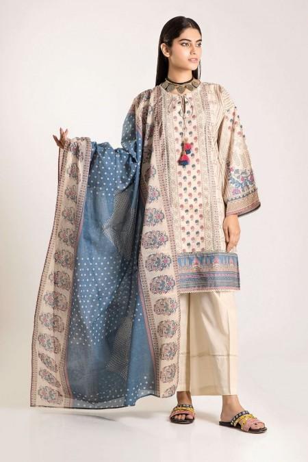 Khaadi Shirt Shalwar Dupatta CA19503-Beige-3Pc