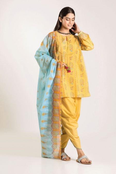 Khaadi Shirt Shalwar Dupatta CA19504-Yellow-3Pc