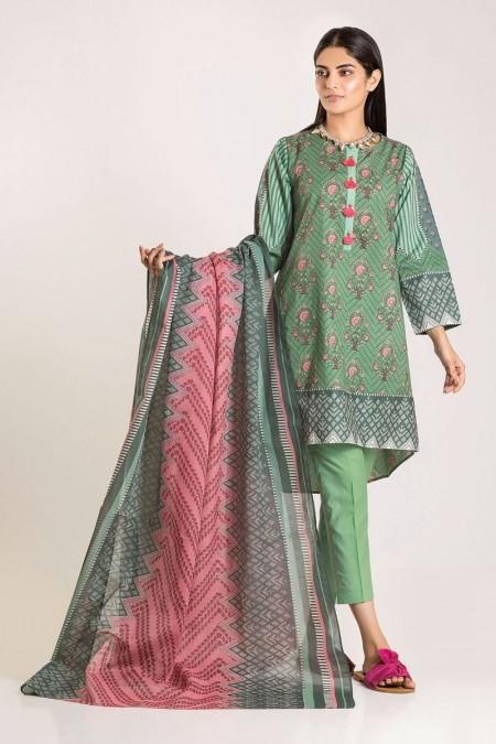 Khaadi Shirt Shalwar Dupatta CA19505-Green-3Pc