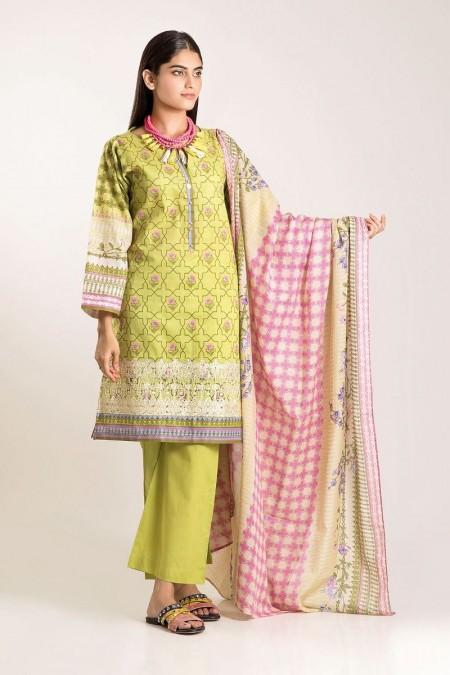 Khaadi Shirt Shalwar Dupatta CB19501-Green-3Pc