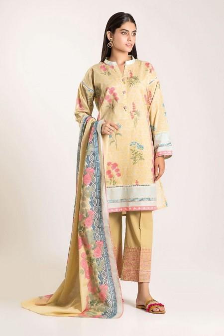 Khaadi Shirt Shalwar Dupatta CB19502-Beige-3Pc
