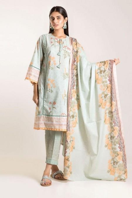Khaadi Shirt Shalwar Dupatta CB19502-Blue-3Pc