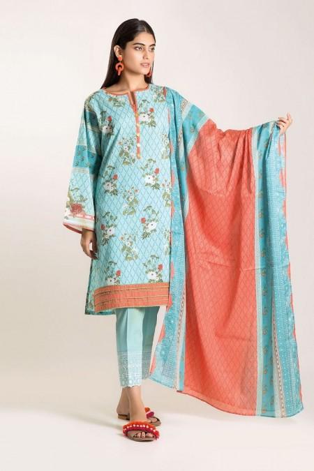 Khaadi Shirt Shalwar Dupatta CB19505-Blue-3Pc