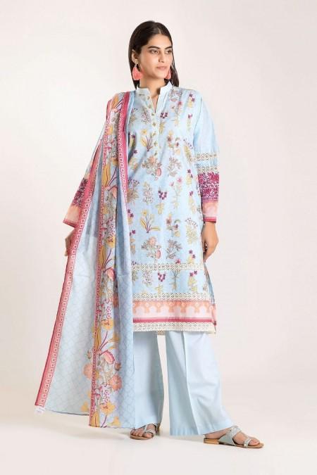 Khaadi Shirt Shalwar Dupatta CB19506-Blue-3Pc