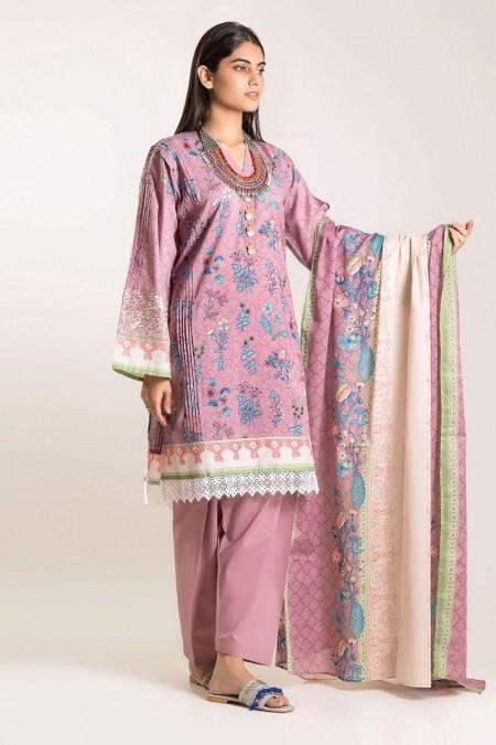Khaadi Shirt Shalwar Dupatta CB19506-Pink-3Pc