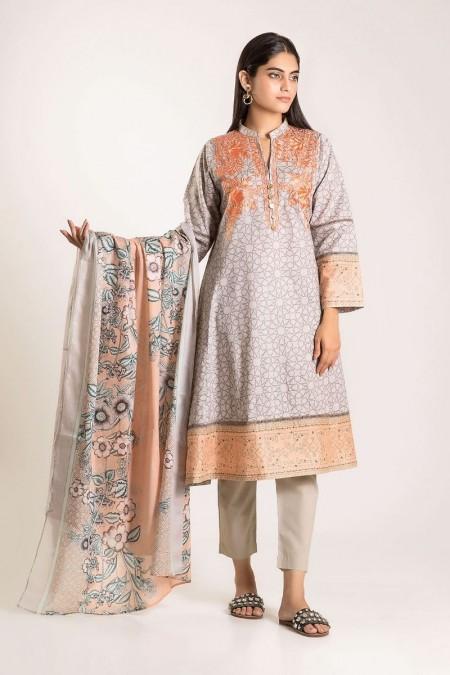 Khaadi Shirt Shalwar Dupatta CB19507-Grey-3Pc
