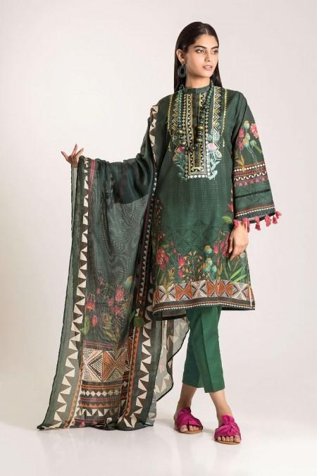 Khaadi Shirt Shalwar Dupatta CKB19503-Green-3Pc