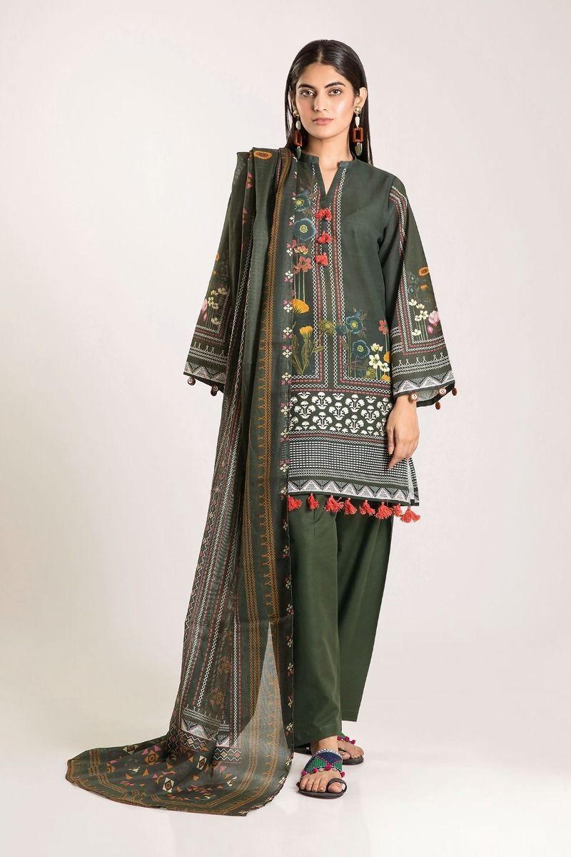 Khaadi Shirt Shalwar Dupatta CKB19504-Green-3Pc