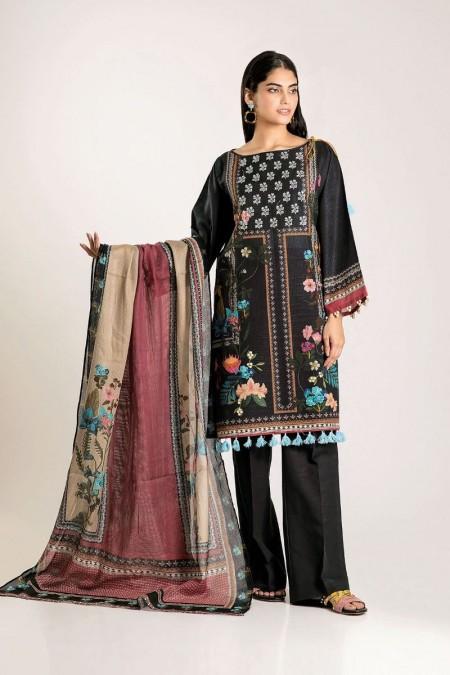 Khaadi Shirt Shalwar Dupatta CKB19506-Black-3Pc