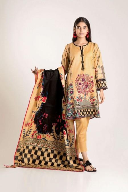 Khaadi Shirt Shalwar Dupatta KA19503-Beige-3Pc