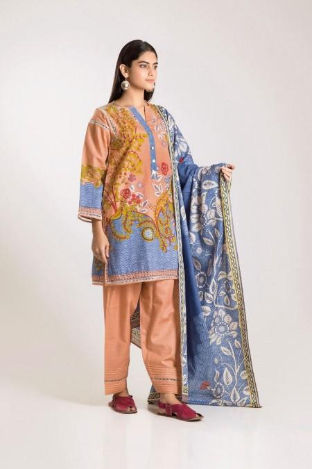 Khaadi Shirt Shalwar Dupatta KA19504-Pink-3Pc