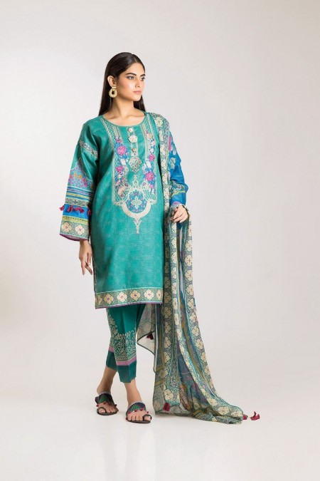 Khaadi Shirt Shalwar Dupatta KK19504-Green-3Pc