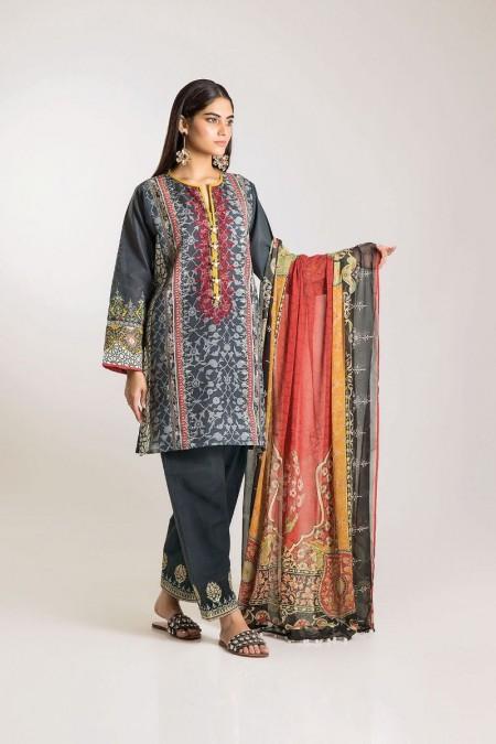 Khaadi Shirt Shalwar Dupatta KK19506-Grey-3Pc