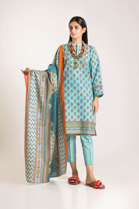 Khaadi Shirt Shalwar Dupatta LKA19502-Green-3Pc
