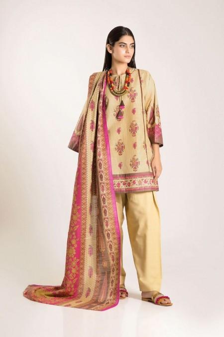 Khaadi Shirt Shalwar Dupatta LKA19503-Yellow-3Pc