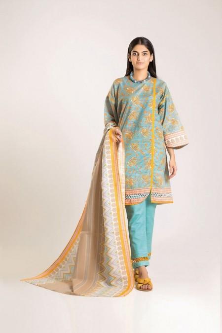 Khaadi Shirt Shalwar Dupatta LKA19504-Blue-3Pc
