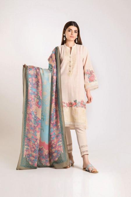 Khaadi Shirt Shalwar Shawl KO19501-Off-White-3Pc