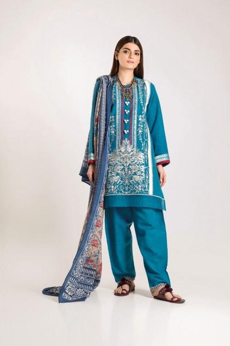 Khaadi Shirt Shalwar Shawl KO19502-Blue-3Pc