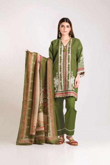 Khaadi Shirt Shalwar Shawl KO19506-Green-3Pc