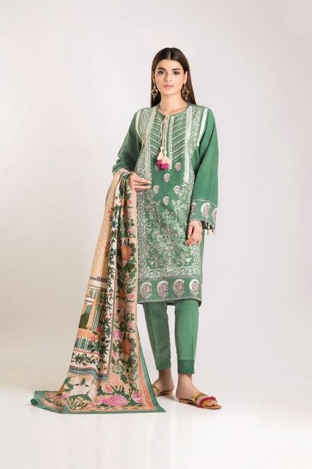Khaadi Shirt Shalwar Shawl KO19507-Green-3Pc