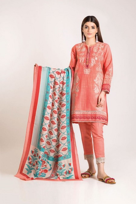 Khaadi Shirt Shalwar Shawl KO19509-Pink-3Pc